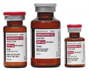 three amiodarone bottles
