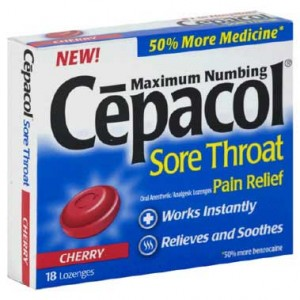 Box of Cepacol sore throat pain relief