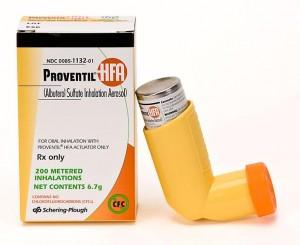Proventil package and inhaler