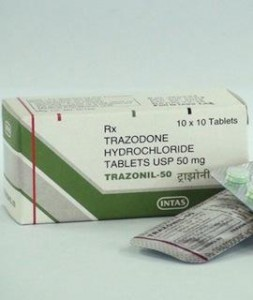 Trazodone package and pills