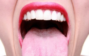 woman opening dry mouth