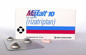 Maxalt package, blister pack and tablets