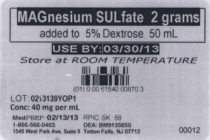 a label for Magnesium Sulfate 2 grams